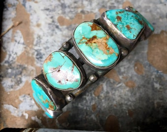 65g Navajo Turquoise Cuff Bracelet Circa 1950s, Seven Stone Native American Indian Jewelry
