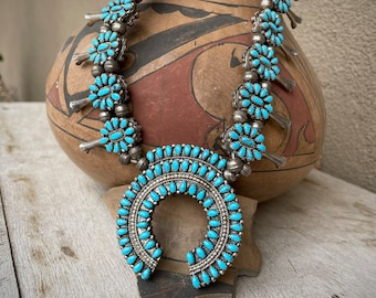 Vintage 139gm Petit Point Squash Blossom Necklace Two Sided Turquoise and Coral, Native American