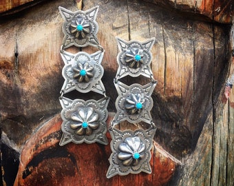 "Signed Navajo 3"" Long Stamped Repousse Silver Turquoise Earrings for Women, Native American Indian Jewelry"