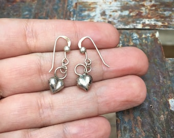 Tiny Sterling Silver Puffy Heart Dangle Earrings for Young Woman, Short Hair Earring, Mexican Jewelry