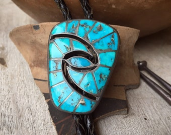 Vintage Turquoise Bolo Tie Zuni Channel Inlay Hummingbird Design, Native American Indian Accessory