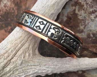 Copper and German Silver Navajo Stacking Cuff Bracelet for Women Men, Native America Indian Jewelry