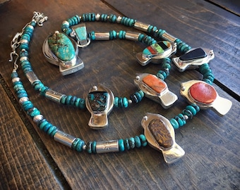 Reversible Multi Stone Turquoise Necklace Earring Set with Bird Pendants Squash Blossom Style, Santo Domingo Native American Indian Jewelry
