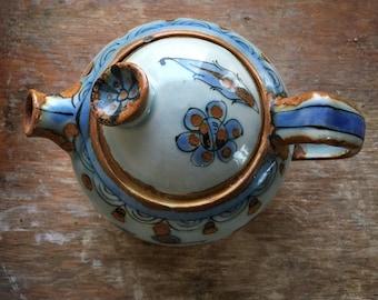 Vintage Ken Edwards Pottery Teapot with Bird and Butterfly Design, El Palomar Ceramic Tea Pot