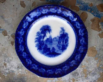 "Antique Flow Blue Ironstone Plate Excelsior Pattern 9.25"" Circa 1840s Thomas Furnival Pottery"