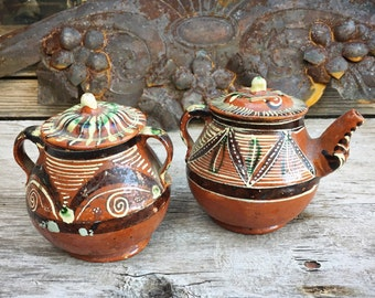 Vintage Mexican Pottery Sugar and Collectible Creamer Set, Redware Oaxaca Dripware, Rustic Decor