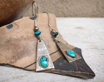 Dyed Howlite Sterling Silver Triangle Dangle Earrings, Vintage Native America Indian Jewelry