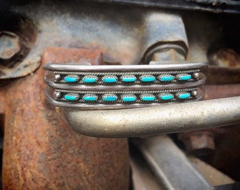 Dainty Zuni Jewelry Turquoise Bracelet for Small Wrist, Native American Indian Jewelry