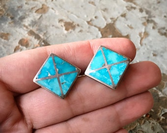 1970s Sterling Silver Turquoise Cufflinks for Men, Native American Indian Southwestern Cuff Links