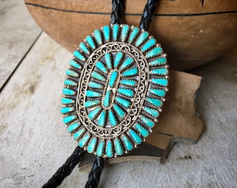 Vintage Zuni Petit Point Turquoise Bolo Tie for Men, Native America Indian Bola Western Tie