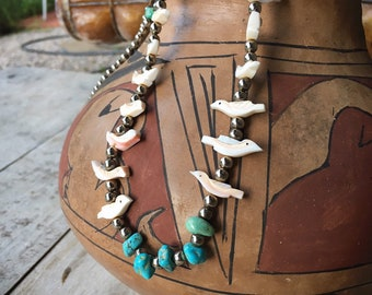 Carved Shell Bird Fetish German Silver Bead Turquoise Nugget Necklace for Women, Native America Indian Jewelry