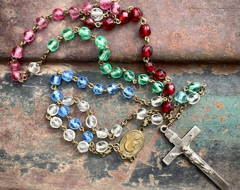 Vintage Catholic World Mission Rosary with Mulit-Color Glass Beads, Religious Prayer Jewelry