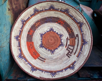 Shallow Woven Basket for Gallery Wall, Bohemian Southwestern Kitchen Decor, Wicker Straw Weaving