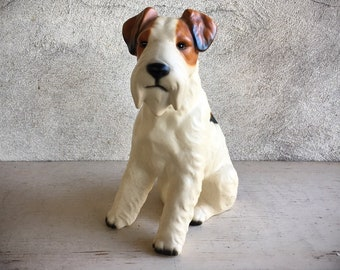 Vintage Porcelain Dog Statue Made in Japan, Wire Hair Fox Terrier Figurine, Gift for Dog Lover