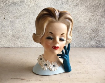 Napco Lady Head Vase Flip Hairdo with Daisies and Blue Glove, Doris Day Collectibles, 1950s Decor