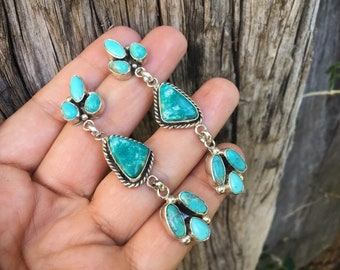 Turquoise Cluster Earrings for Women Signed Navajo Jewelry, Native American Indian Jewelry