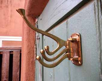 Arts and Crafts Era Brass Hall Tree Hook with Movable Arms, Architecture Salvage, Bathroom Robe Hook