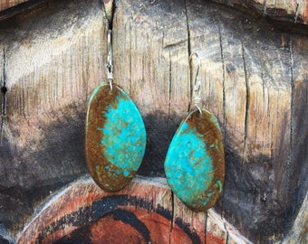 Vintage Thin Slab Turquoise Earrings, Native American Indian Jewelry Santo Domingo Pueblo, Girlfriend Gift, Bohemian Resort Wear