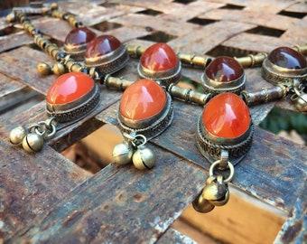 Vintage Tribal Necklace Bib Choker with Carnelian Pendants Brass Beads and Bells, Nomadic Orange Jewelry