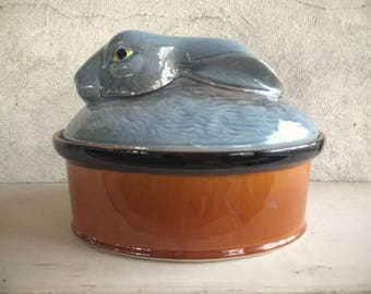 Italian Pottery Ceramic Rabbit Tureen Bowl, Soup Tureen, Rabbit Gifts Easter Decor
