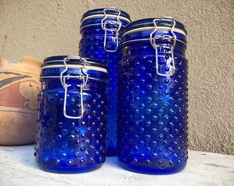 Cobalt Blue Hobnail Glass Canister Set Three Sealable Jars, Retro Kitchen Housewares, Vintage Cookie Holders, Stash Containers