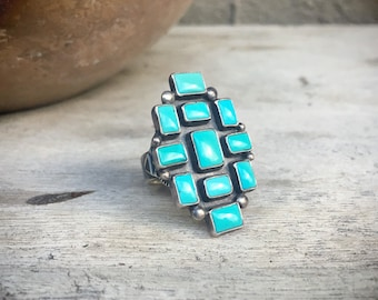 Signed Navajo Verdy Jake Turquoise Ring for Women Size 7 Native American Indian Jewelry