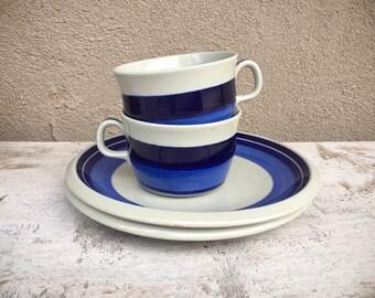 Two Von Rorlfrand Sweden Mira Mare Salad Plates and Cups, Rörstrand Schüssel Design Marianne Westman