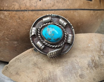 Authentic Turquoise Ring Size 5.5, Native American Indian Jewelry, Round Navajo Ring for Women