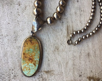 Old Pawn Turquoise Pendant Silver Bead Pendant Necklace for Women, Native American Indian Jewelry