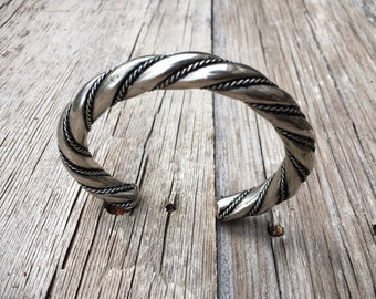 Vintage 38g Very Thick Silver Rope Bracelet for Men, Native American Jewelry, Simple Silver Twist Bracelet