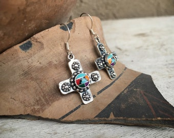 Sterling Silver Crosses with Multi Stone Channel Inlay, Native American Indian Southwestern Jewelry