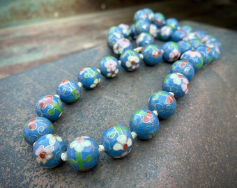 "Vintage Blue Cloisonné Bead Necklace 25"" Hand Knotted Circa 1960s, Chinese Enamel Art Deco Style"