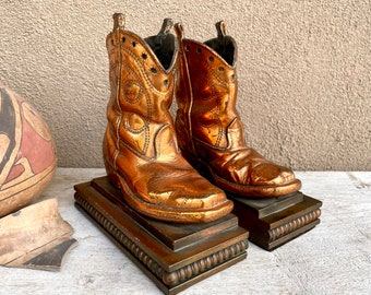 Vintage Copper Cowboy Boot Bookends, Western Ranch House Decor, Father's Day Gift for Grandpa