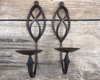 Pair of Wall Mounted Mexican Wrought Iron Candle Holders, Rustic Sconces, Mexican Decor