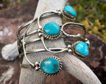 "Abstract ""Spider"" Sterling Silver Turquoise Bracelet for Women, Navajo Native America Indian Jewelry"