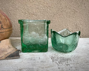 Two Heavy Recycled Glass Votive Candle Holders or Tabletop or Shelf Display, Boho Hippie Decor