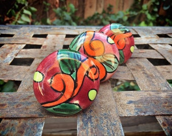 Set of Three Mexican Ceramic Drawer Pulls Rustic Home Decor, Orange Talavera Mexican Tile Knobs