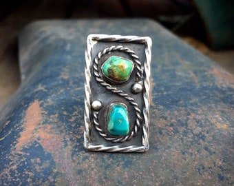 Vintage Green and Blue Turquoise Nugget Ring Size 7, Native America Indian Jewelry for Women