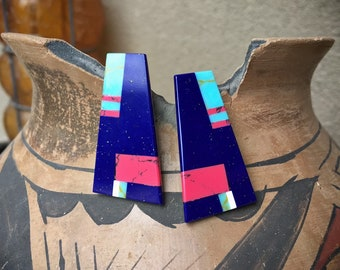 Multicolor Blue Lapis and Turquoise Flush Inlay Post Earrings Native America Indian Style Jewelry