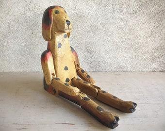 Carved and Painted Wood Dog Shelf Sitter, Indonesia Folk Art Shelf Decor, Farmhouse Cottage Rustic Home