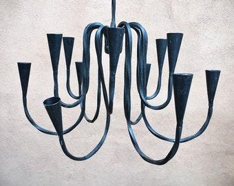 Danish Modern Style Black Wrought Iron Candleholder Hanging Candelabra, Modernist Mexican Home Decor Southwetern