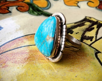 Navajo Sterling Silver Turquiose Ring Size 9 by Aron Johnson, Native American Indian Jewelry