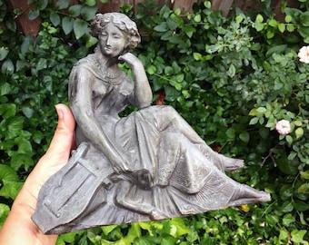 Cast Metal Vintage Lady Garden Decor Art Noveau Style, Garden Art, Outdoor Statues, Rustic Garden Statuary, Rustic Decor, Vintage Gifts