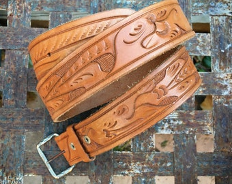 Hand Tooled Leather Western Belt for Women or Men with Removable Silver Tone Buckle