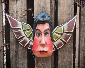 Carved Wood Angel with Wings Wall Hanging, Mexican Folk Art, Religious Wall Art, Chubby Cheek Angel