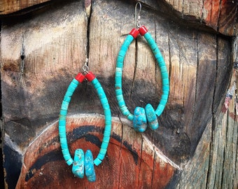 "3"" Turquoise Heishi Earrings with Nugget Stone Jacla, Old Pawn Santo Domingo Native American Indian Jewelry"