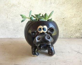 Vintage Art Studio Stoneware Hippo Planter, Succulent Planter, Hippopotamus Mid Century Decor,