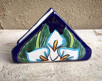Talavera Napkin Holder with Lily Design White and Blue, Southwestern Kitchen Decor, Breakfast Nook