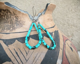 Small Turquoise Heishi Hoop Hoop Earrings for Women, Native American Indian Jewelry, Boho Hippie