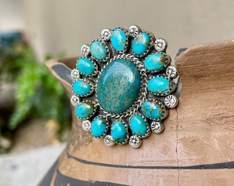 Size 9.5 Turquoise Cluster Ring by Navajo Eunice Begay, Native American Indian Jewelry Women's
